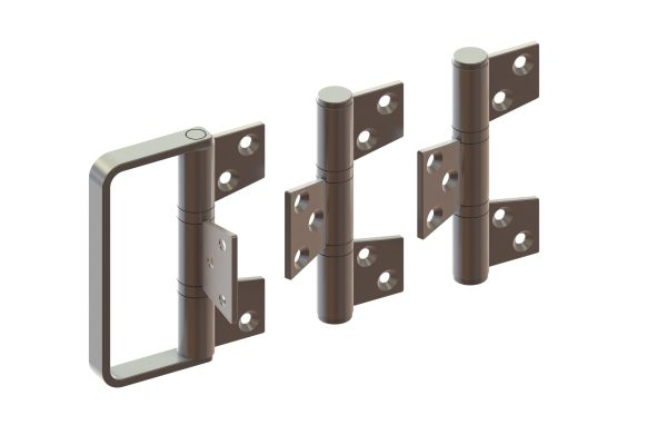 Article No. 098333 hinge set c/w handle, outward opening, satin stainless steel