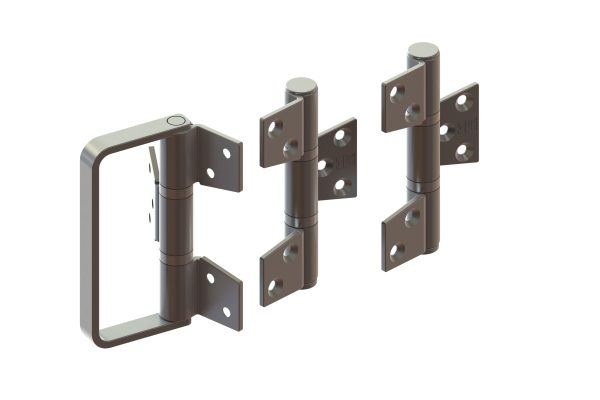 Article No. 098353 hinge set c/w handle (off-set), outward opening, satin stainless steel