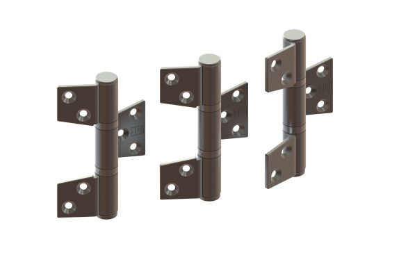 Article No. 098373 hinge set (off-set), inward opening, satin stainless steel
