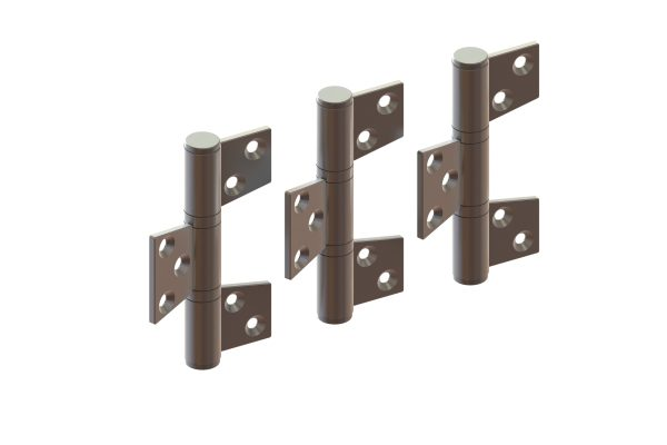 Article No. 098403 hinge set, inward opening, satin stainless steel