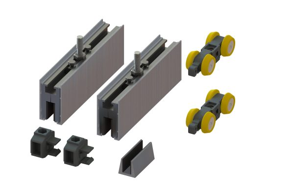 Article No. 52103G80 clamp set, anodized aluminium, 80kgs (8/10mm glass)